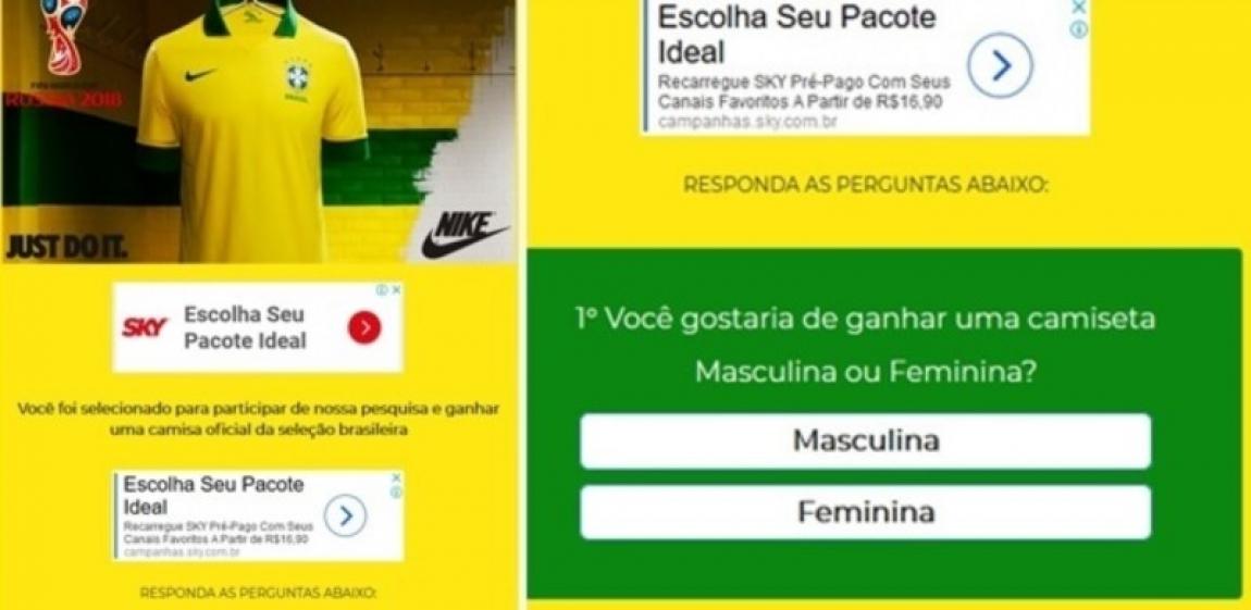 Imagem de Novo golpe no WhatsApp oferece camisa oficial da seleção brasileira